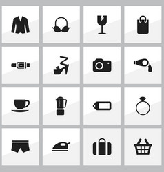 Set of 16 editable shopping icons includes vector