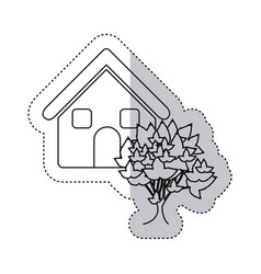 Sticker monochrome contour house with tree vector