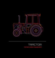 Tractor neon sign vector