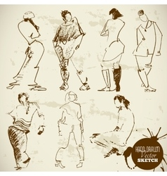 Vintage abstract hand drawn people sketch vector