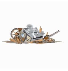 Wreckage of carriage image in cartoon style vector image vector image