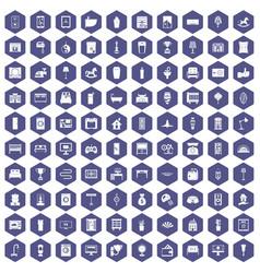 100 interior icons hexagon purple vector image