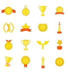 Trophy award icons set in cartoon style vector