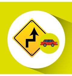 Curve road sign sedan red vector