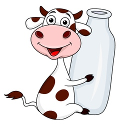 Funny cow embrace a bottle of milk vector image