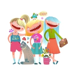 Friends girls fashion stylish colorful watercolor vector