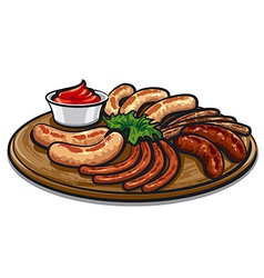 Roasted sausages vector