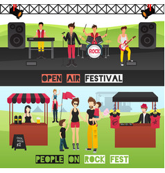 Outdoor festival banners set vector