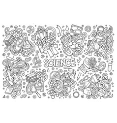Cartoon set of science theme doodles design vector