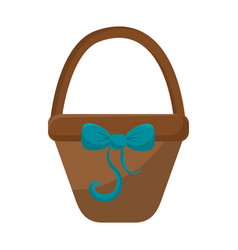 Brown hamper with blue ribbon bow decoration vector