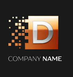 letter d logo symbol in the colorful square vector image