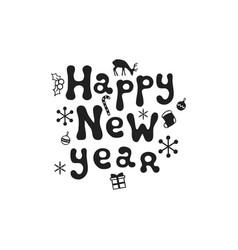 happy new year christmas calligraphy phrase vector image
