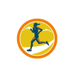 Female triathlete runner running retro vector