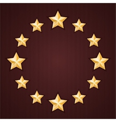 Gold stars on red textured background vector