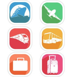 Transportation icon airplane cruise ship train bus vector
