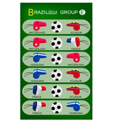 Soccer tournament of brazil 2014 group e vector