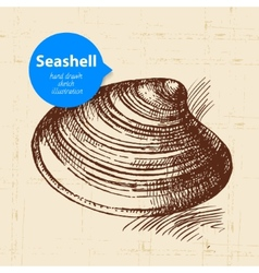 Seashell hand drawn sketch vector image