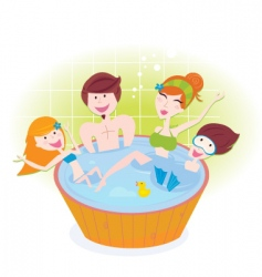 Family in whirlpool vector