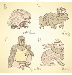 Sketch fancy animals alphabet in vintage style vector