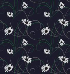 Flower seamless dark blue background vector