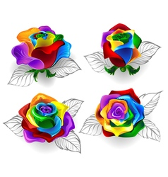 Set of rainbow roses vector