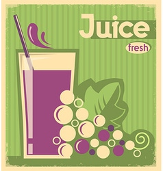 Old poster of grape juice on old paper texture vector