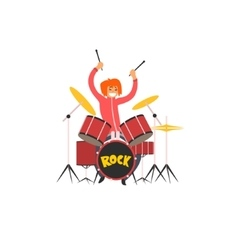 Girl drummer vector