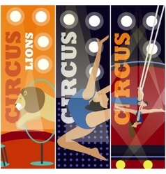 Set of circus concept banners acrobats and vector