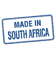 Made in south africa blue square isolated stamp vector