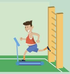 A man on a treadmill vector