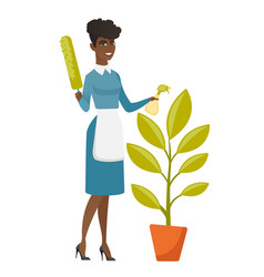 African housemaid watering the flower with spray vector