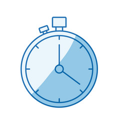 Blue color shading silhouette stopwatch with timer vector