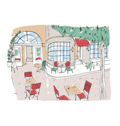 Colorful rough drawing of outdoor cafe restaurant vector