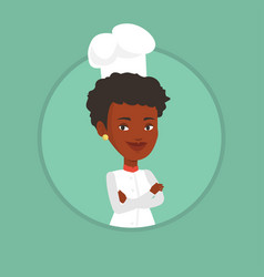Confident female chef with arms crossed vector