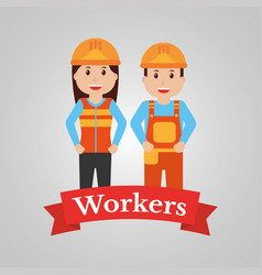 Couple of construction workers characters workwear vector