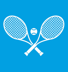 Crossed tennis rackets and ball icon white vector