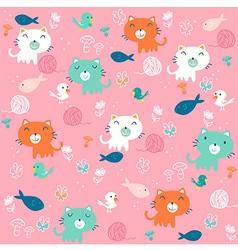 Fancy cat pink pattern vector