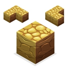 Game block isometric cubes nature unending land vector