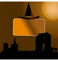 Halloween sign with hat background vector