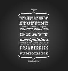 happy thanksgiving menu greeting card vector image