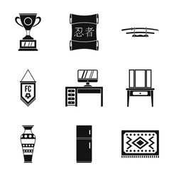 Household duties icons set simple style vector