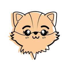 isolated cute fox face vector image