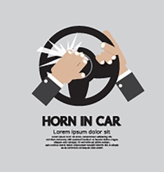 Man honking the horn in a car vector