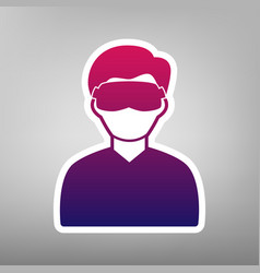 Man with sleeping mask sign purple vector