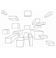 Many cubes in one point perspective vector