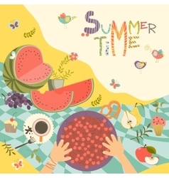 Picnic with summer fruits and berries vector