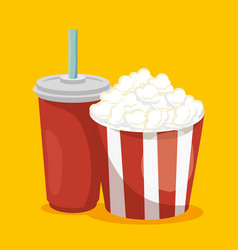 pop corn with soda isolated icon vector image