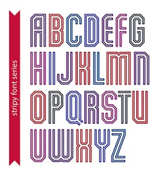 Red geometric font created from parallel straight vector