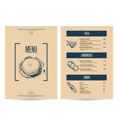 restaurant fast food menu in retro style vector image
