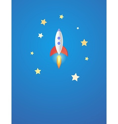 Rocket in space modern design vector